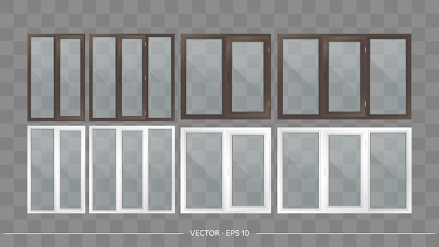 Set aus metall-kunststoff-balkonen mit transparenten gläsern. moderne balkone im realistischen stil. vektor.