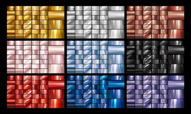 Set aus metall oder metallischem hintergrund