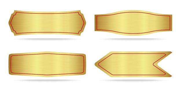 Set aus metallischem gold-namensschild