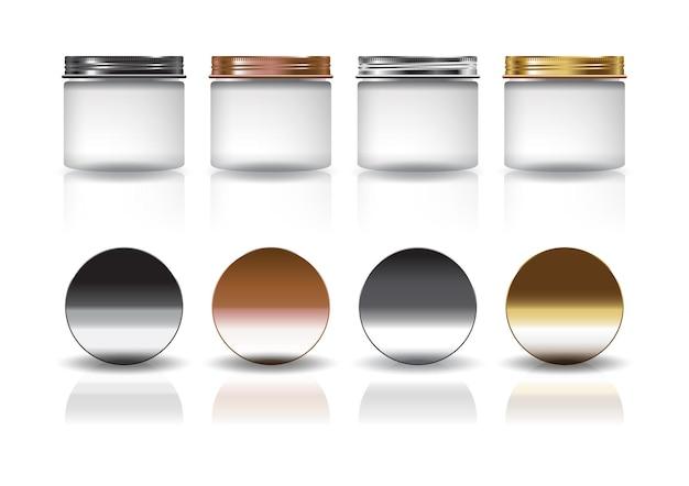 Set aus mittelweißem kosmetischem rundem glas mit schwarz-kupfer-silber-goldener deckelmodellvorlage. isoliert auf weißem hintergrund mit reflexionsschatten. gebrauchsfertig für verpackungsdesign. vektor-illustration.