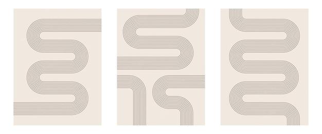 Set aus modernem minimalistischem kunstdruck aus der mitte des jahrhunderts mit geometrischer natürlicher form.