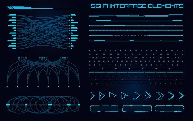 Set aus modernen sci-fi-elementen der benutzeroberfläche futuristisches abstraktes hud gut für die benutzeroberfläche des spiels