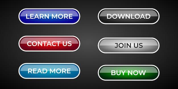 Set aus modernen und professionellen website- und ux-ui-schaltflächen mit glänzendem verlaufseffekt