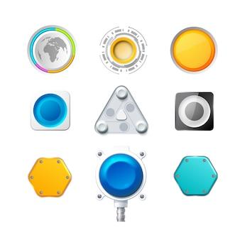 Set aus neun farbenfrohen realistischen schaltflächen und schaltern für websites oder anwendungen