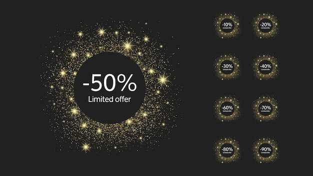 Set aus neun limitierten goldbannern mit unterschiedlichen rabattsätzen von 10 bis 90. weiße zahlen in goldglitzernden kreisen auf dunklem hintergrund. vektor-illustration