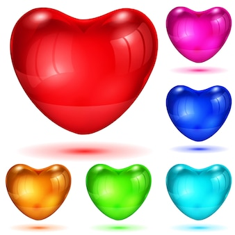 Set aus opak glänzenden herzen in verschiedenen farben