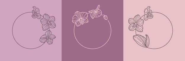Set aus orchideenblüten-rundkranz und monogramm-konzept im minimalen linearen stil. vektorblumenlogo mit kopienraum für buchstaben oder text. emblem für kosmetik, medikamente, lebensmittel, mode, schönheit
