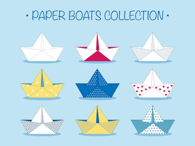 Set aus origami-papierbooten oder schiffen
