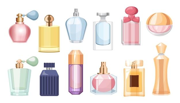 Set aus parfümflaschen, bunten glasfläschchen und flaschen mit sprüher und pumpe. aroma düfte kosmetik für männer oder frauen