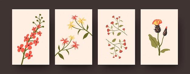 Set aus pastellfarbenen dekorativen blumen auf karten