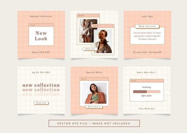 Set aus quadratischem flyer-post mit braunem cremefarben-modethema für soziale medien.