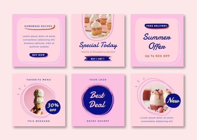 Set aus quadratischem flyer-post mit essenssommerthema für soziale medien.
