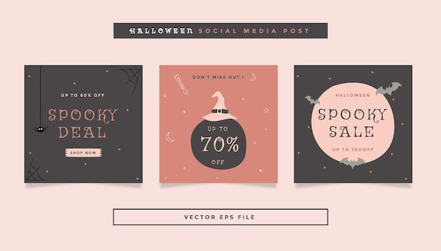 Set aus quadratischem flyer-post mit grau-orange-rosa farben halloween-thema für social media