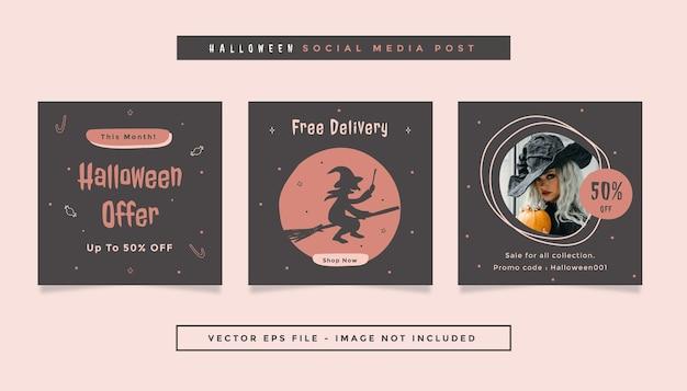 Set aus quadratischem flyer-post mit grau-orange-rosa farben halloween-thema für social media Premium Vektoren