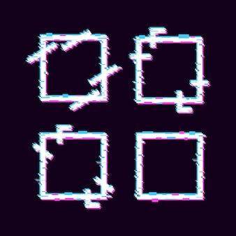 Set aus quadratischem geometrischem glitch-effekt-rahmendesign mit blauer und violetter farbe