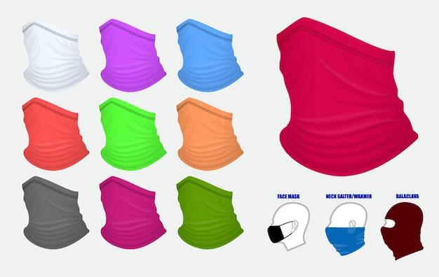 Set aus realistischem bandana oder bandana für biker- und cowboy-kleidung oder buff auf realistischer schaufensterpuppe
