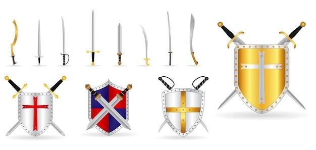 Set aus realistischem kriegerschwert oder kreuzschwertschild oder axtschwert cartoon-schild oder keris