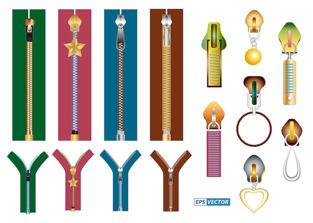 Set aus realistischem reißverschluss für isolierte kleidung oder goldenes luxus-reißverschluss-kleidungsstück oder reißverschluss-metallverschluss