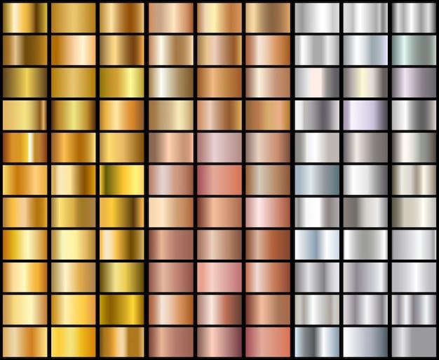 Set aus realistischem silber, roségold und goldenen farbverläufen