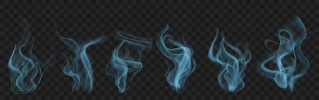 Set aus realistischem transparentem rauch oder dampf in hellblauen farben