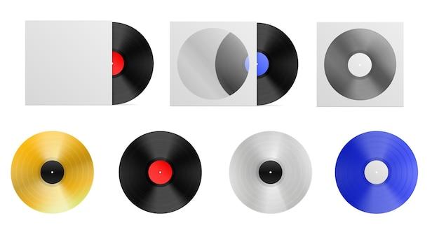 Set aus realistischem vinyl-mockup-lp-plattencover weißes platinsilber und blaue vinylplatte