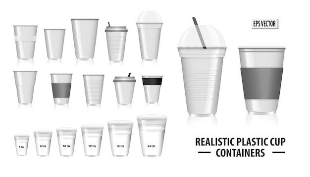 Set aus realistischen bunten becherbehältern mit klarem kunststoff in einwegbechern