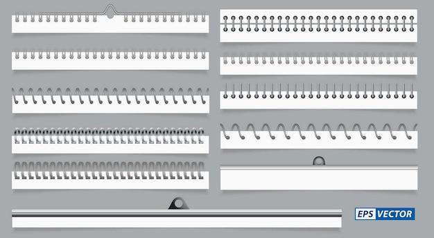Set aus realistischen spiralpapierblättern oder kalenderspiraldraht oder notizblockbinder-stahlringen oder metall