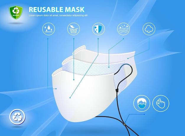 Set aus realistischer dreilagiger op-maske oder 3-lagiger medizinischer gesichtsmaske pm 25