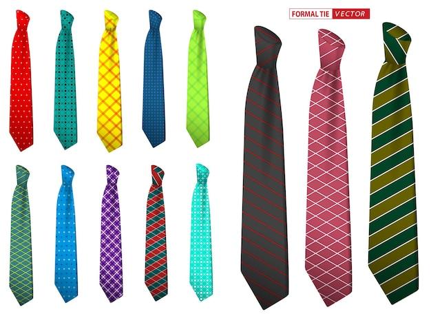 Set aus realistischer eleganter herrenkrawatte oder formaler krawatte für bürouniform oder verschiedene accessoires-krawatten