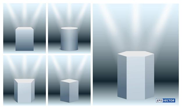 Set aus realistischer museumsbühne oder realistischem würfelpodium für ausstellung und trophäe oder leere geometrische