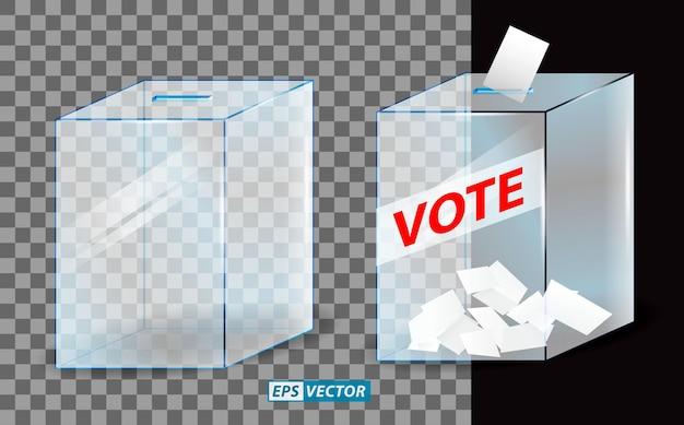 Set aus realistischer wahlbox oder gläserner wahlurne transparent oder stimmpapier in die wahlbox eingelegt