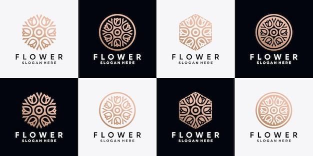 Set aus rosenblüten-logo-design-kollektion mit strichzeichnungen