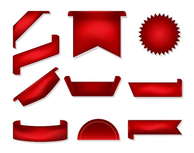 Set aus rotem band zur dekoration