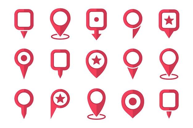 Set aus rotem standortstiftzeigersymbol in einem flachen design