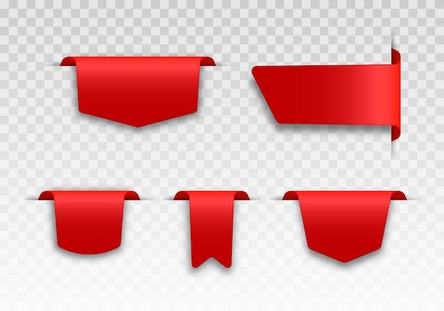 Set aus roten preisschildern tag-design für schwarzen freitag realistisches verkaufsetikett