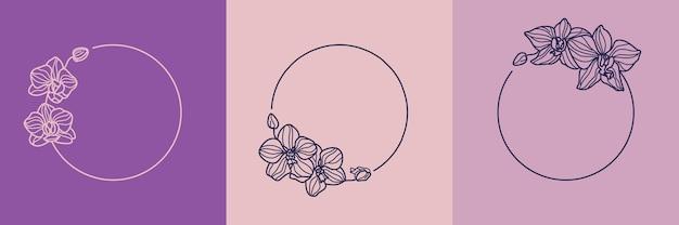 Set aus runden rahmen der orchideenblüte und monogrammkonzept im minimalen linearen stil. vektorblumenlogo mit kopienraum für buchstaben oder text. emblem für kosmetik, medikamente, lebensmittel, mode, schönheit