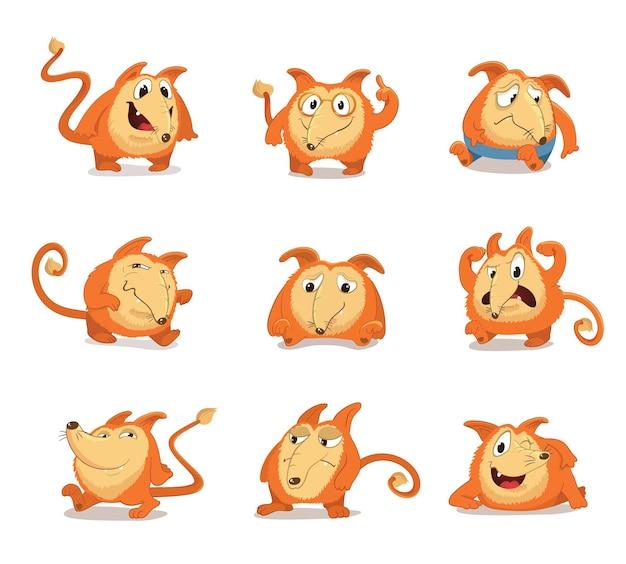 Set aus runden, süßen maskottchenfiguren mit langer nase, die an einen rotfuchs oder hund erinnern. verschiedene posen und gesichtsausdrücke (erstaunt, wütend, wütend, glücklich, lächelnd, irritiert) isoliert.