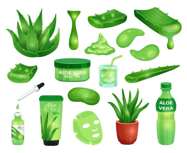 Set aus saftigen aloe vera pflanzenblättern und elementen der apotheke für kosmetische produkte