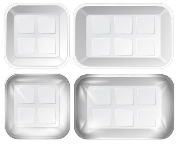 Set aus schaumstoff-tray-paket