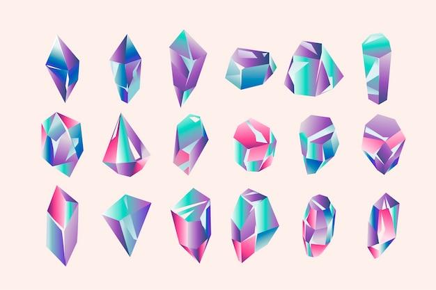 Set aus schönen geometrischen kristallen und edelsteinen