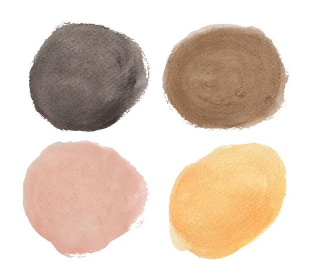 Set aus schwarz, braun und orange. runde aquarellspritzer. kreiselemente