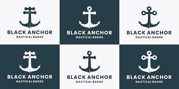 Set aus schwarzem anker-logo-design vintage