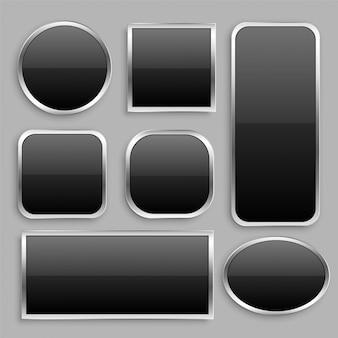 Set aus schwarzem glänzendem knopf mit silbernem rahmen