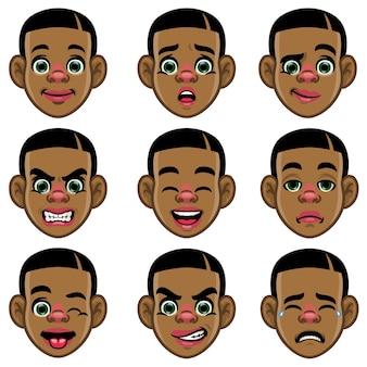 Set aus schwarzem jungenkopf mit verschiedenem ausdruck