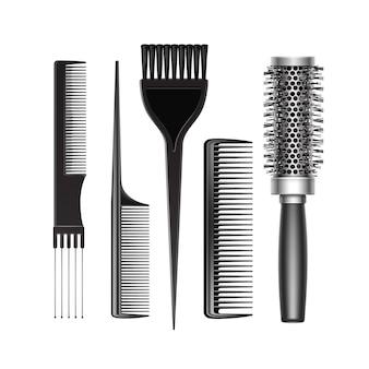 Set aus schwarzem kunststoff pflege und hot curling radial pocket haarfarbe pinsel kamm professional friseur werkzeuge draufsicht isoliert