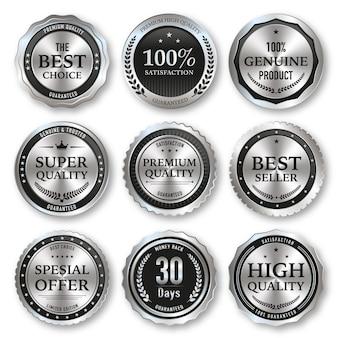 Set aus schwarzem und silbernem etikett