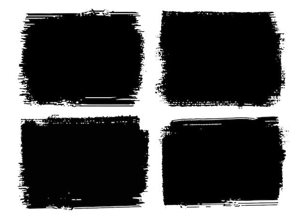 Set aus schwarzen grunge-rahmen