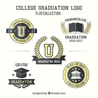 Set aus schwarzen und gelben graduierung logos