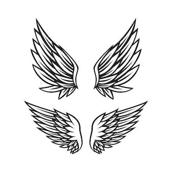 Set aus schwarzen und weißen engelsflügeln