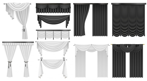 Set aus schwarzen und weißen samtseidenvorhängen und -vorhängen. innen realistische luxusvorhänge dekoration design.
